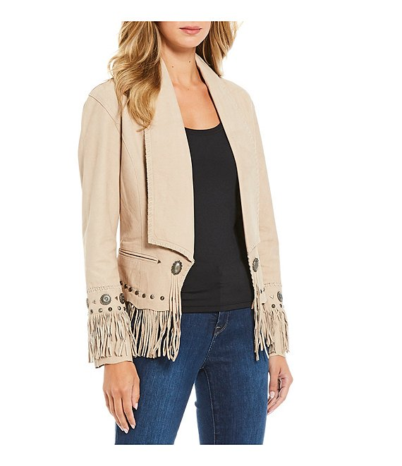 Cripple Creek Antique Silver Concho Fringe Jacket, Bone