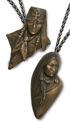2008 Prix de West Bolo, Ute Warrior or Ute Maiden by Oreland C. Joe Sr. bronze