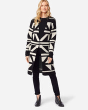 Load image into Gallery viewer, Pendleton woolen mills bridges merino cardigan wool black antique white sweater warm cozy long front
