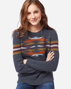 Pendleton woolen mills desert gem wool sweater mood indigo multi women merino wool front