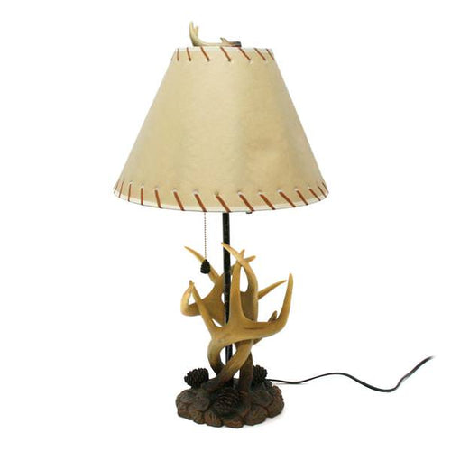 antler lamp pine cone pull chain 28 inches tall rustic western cabin decor deer elk vellum shade