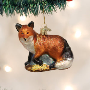 red fox christmas ornament glass hand-painted cunning trickster wise forest holiday gift old world tree
