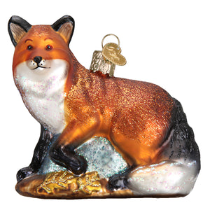 red fox christmas ornament glass hand-painted cunning trickster wise forest holiday gift front