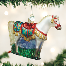 Load image into Gallery viewer, Arabian horse ornament christmas tree holiday glass glitter white gift decoration tree view