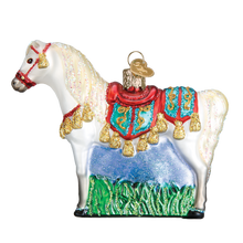 Load image into Gallery viewer, Arabian horse ornament christmas tree holiday glass glitter white gift decoration side view