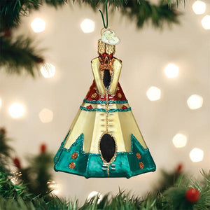 Old World Christmas ornaments teepee native american dwelling travel glitter western heritage tree glass on the tree