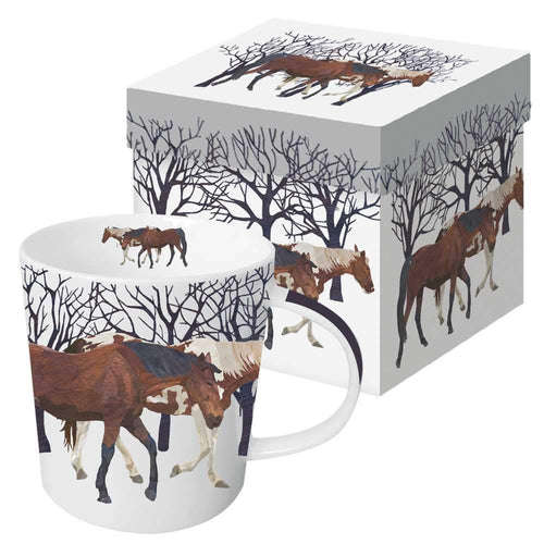 winter horses mug coffee tea hot chocolate home goods snow gift boxed