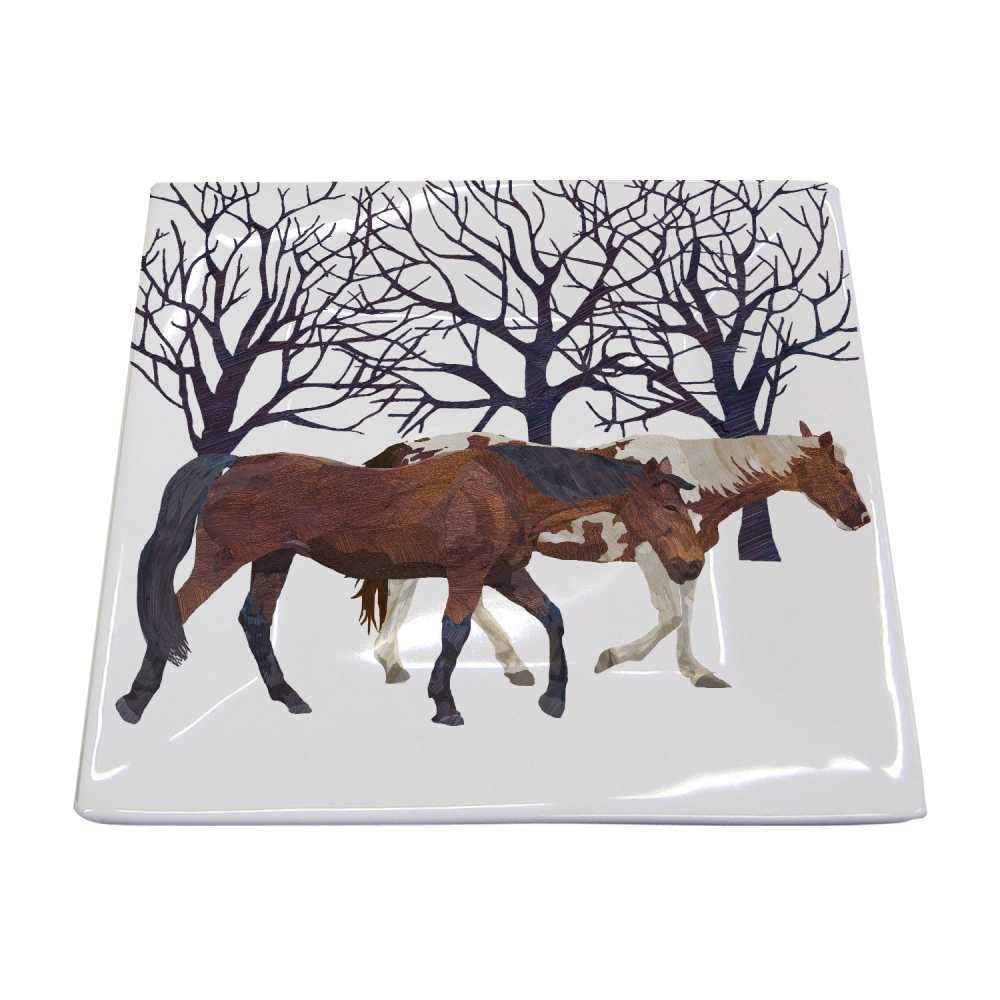 winter horses small square plate platter serving dish snow porcelain