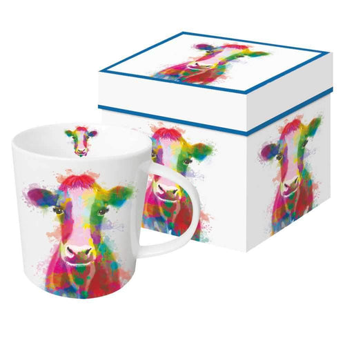 lillian the rainbow cow gift boxed mug for coffee tea or hot chocolate