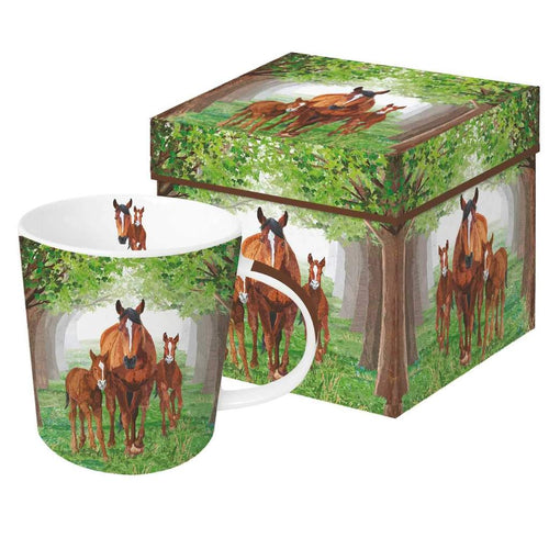 mug in a gift box timberland horses mare and foals mug coffee tea hot chocolate green forest