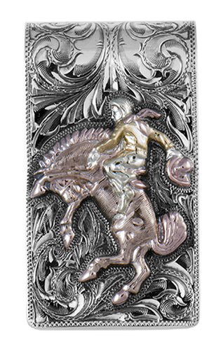 Bohlin cutter 345 money clip 3 color cowboy bronco bucking horse silver wallet engraved
