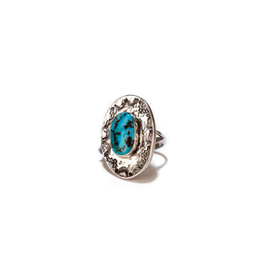 Turquoise and Sterling Silver Stamped Ring