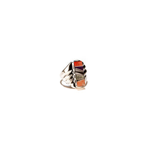 coral and onyx inlay ring zuni native american tribe artists sterling silver jewlery