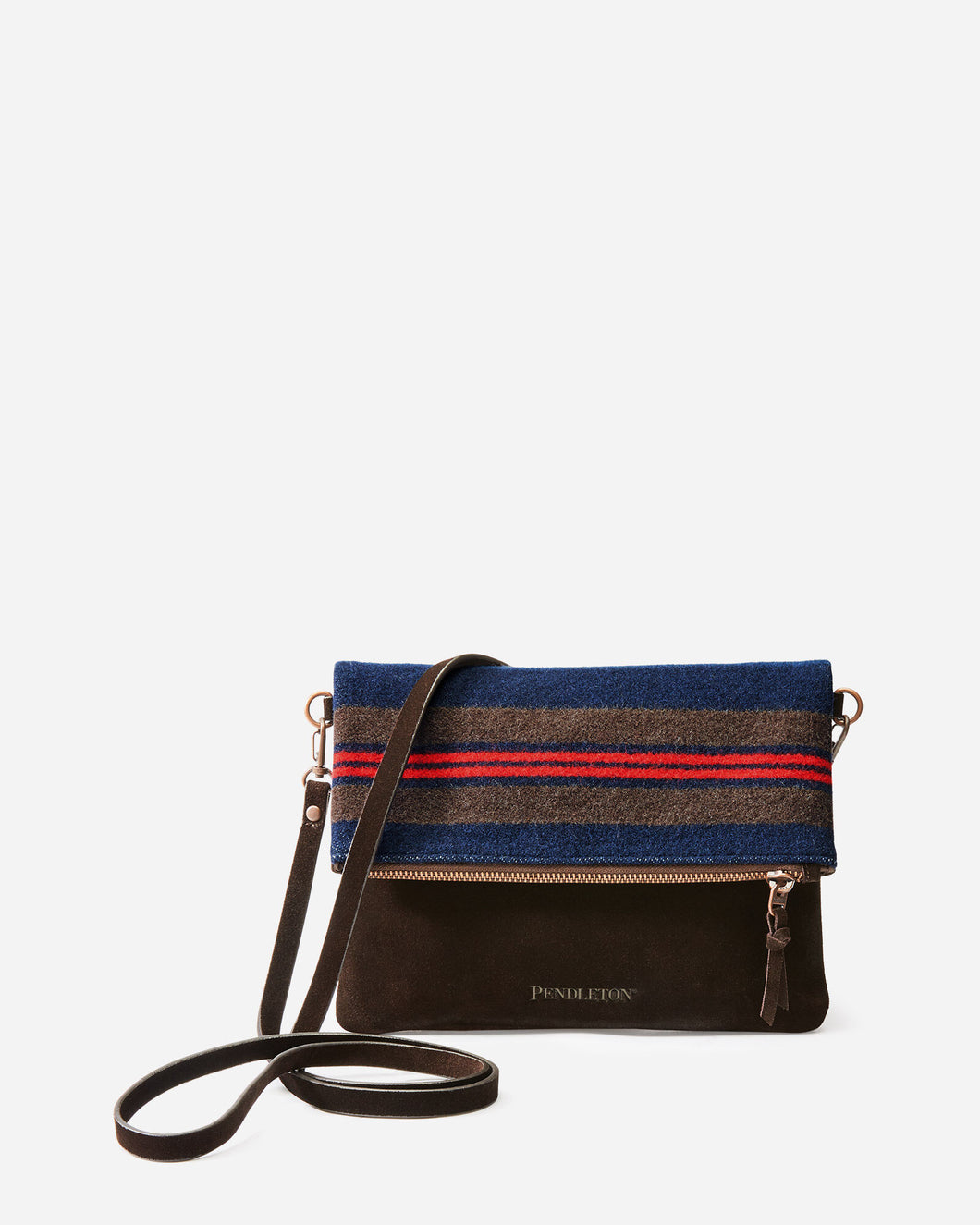 Pendleton woolen mills shelter bay foldover clutch crossbody bag purse wool olive green brown leather travel front
