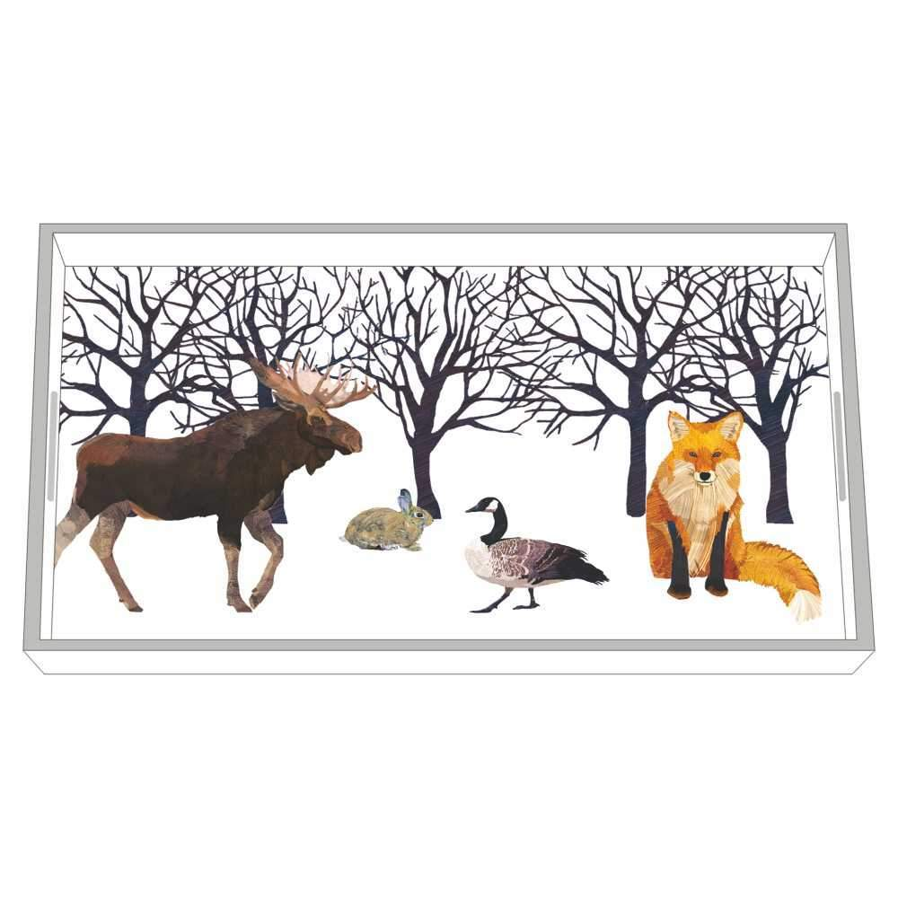 wooden vanity tray winter solstice pattern house decor moose fox goose rabbit