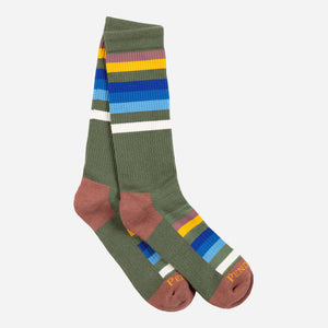 Pendleton Woolen mills National Parks adventure socks Rocky Mountain pattern quarter sock olive green