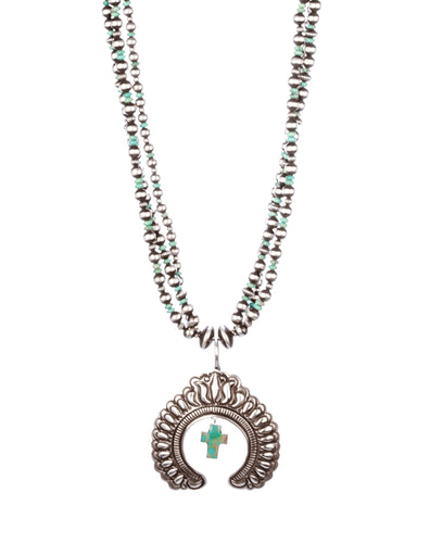 Three-Strand Necklace with Naja Pendant & Cross Drop