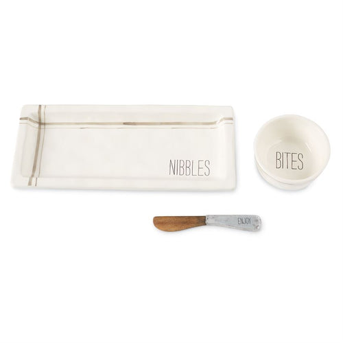 MudPie nibbles bites enjoy spreader tray bowl set serving party appetizers ceramic white minimalist