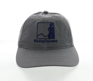 cotton twill baseball cap ball hat sun protection gray grey thanks, tim hashtag the cowboy national cowboy and western heritage museum logo