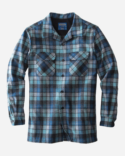 Pendleton Men Board shirt long sleeve button down blue surf plaid california surfers wool umatilla county oregon odor resistant stain resistant moisture wicking