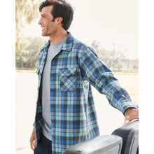 Load image into Gallery viewer, Pendleton woolen mills oregon usa made men board shirt long sleeve surf blue plaid wool odor resistant stain resistant moisture wicking