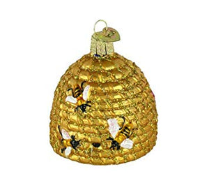 bee skep hive straw coiled honey bee bumblebee gold ornament christmas holiday glass decorations