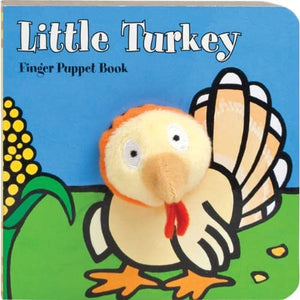 little turkey finger puppet book for children and parents to have interactive and fun reading with a plush peek-a-boo Thanksgiving friend