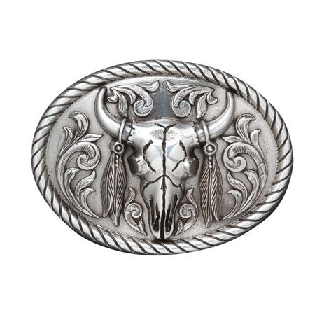 Oval Steer Skull Belt Buckle