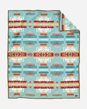 Load image into Gallery viewer, Chief Joseph Nez Perce tribe native american aqua wool robe blanket throw arrowheads courage northeastern oregon USA made front