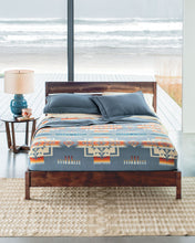 Load image into Gallery viewer, chief joseph jacquard robe blanket slate gray bedding pendleton woolen mills twin sized