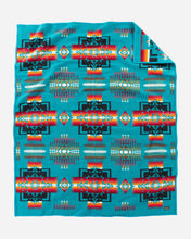 Load image into Gallery viewer, Pendleton Woolen Mills Chief Joseph robe blanket turquoise Nez Perce tribe native american arrowheads bravery Oregon strength integrity twin size