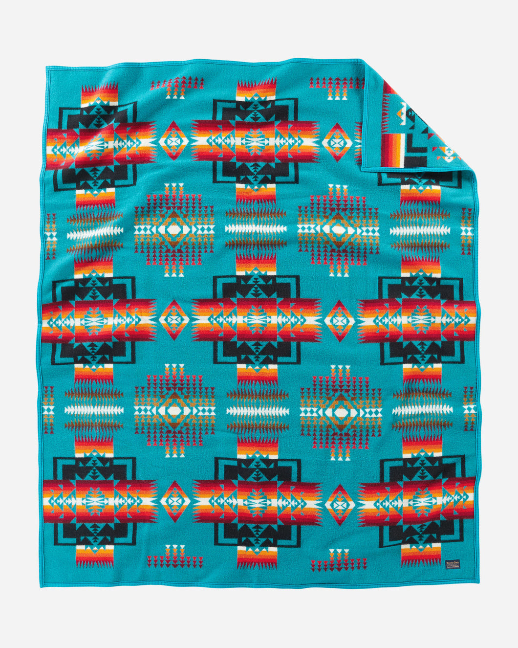 Pendleton Woolen Mills Chief Joseph robe blanket turquoise Nez Perce tribe native american arrowheads bravery Oregon strength integrity twin size