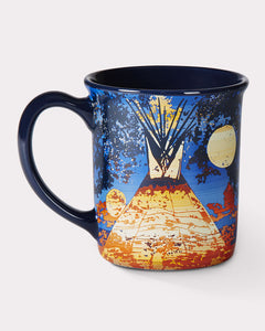full moon lodge mug coffee tea warm beverage pendleton mills ceramic 18 ounces western native american Starr Hardridge Oklahoma artist Muskogee Nation Creek