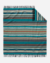 Load image into Gallery viewer, Turquoise Stripe Chimayo Throw pendleton woolen mills blanket Navajo Spanish inspired fringe bright vibrant gift housewarming holiday