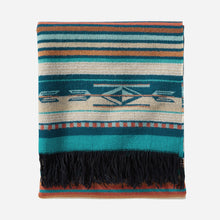 Load image into Gallery viewer, Turquoise Stripe Chimayo Throw pendleton woolen mills blanket Navajo Spanish inspired fringe bright vibrant gift housewarming holiday folded view