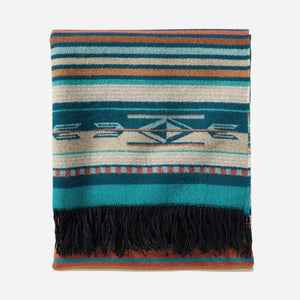 Turquoise Stripe Chimayo Throw pendleton woolen mills blanket Navajo Spanish inspired fringe bright vibrant gift housewarming holiday folded view