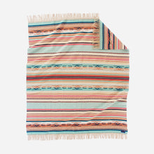 Load image into Gallery viewer, Coral aqua stripe chimayo throw blanket pendleton woolen mills wool navajo-inspired bright colors unfolded