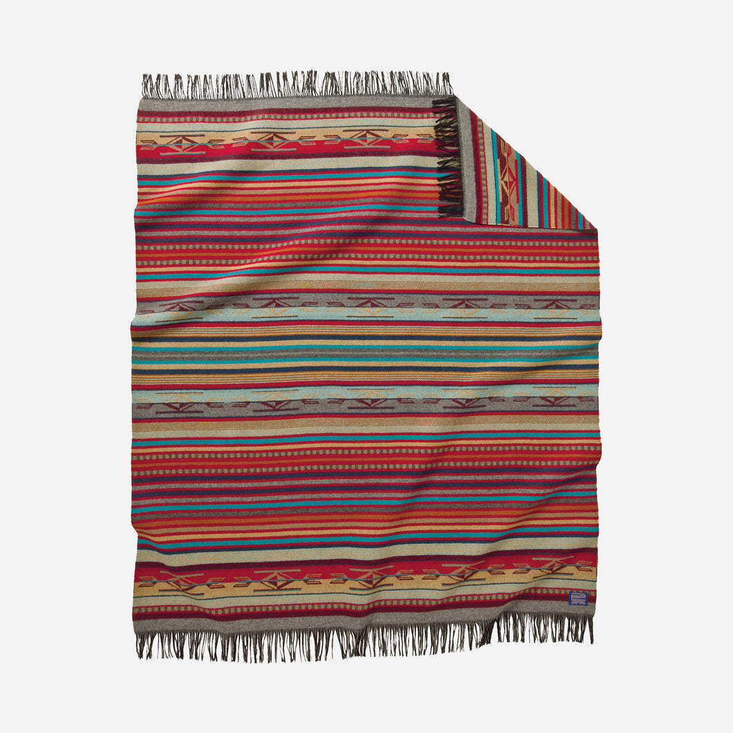 Pendleton Woolen Mills Chimayo Throw garnet grey stripe multi colored vibrant Spanish inspired Navajo motifs blanket soft wool American made