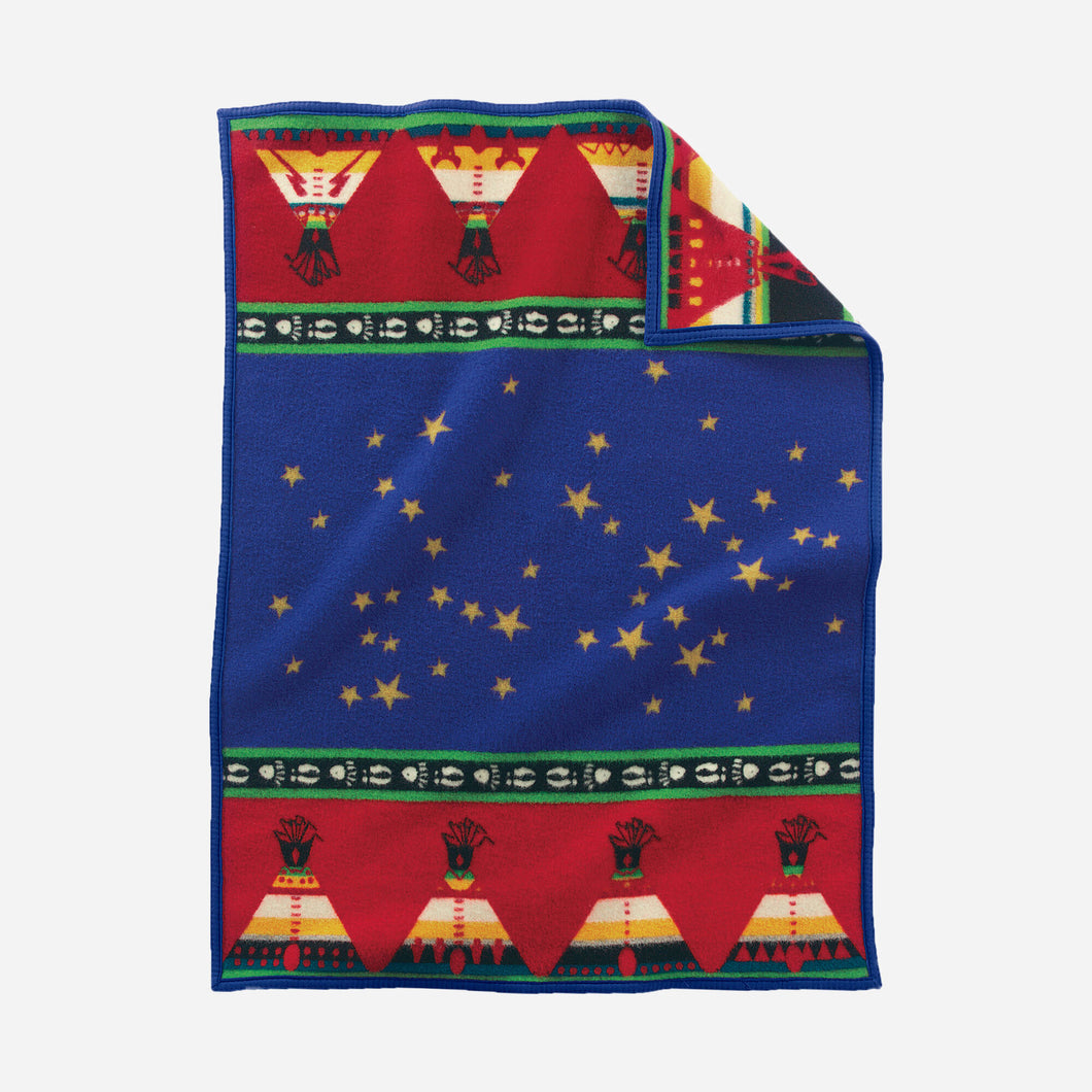 Chief's Road Crib blanket sapphire blue baby children wool soft Pendleton Woolen mills Jesse Henderson artist traditional big dipper Native American gift holiday home goods