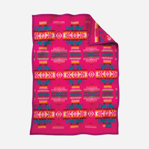 Pendleton woolen mills chief joseph crib blanket cherry hot pink breast cancer awareness donation wool gift baby shower