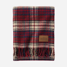 Load image into Gallery viewer, Pendleton woolen mills usa made wool blanket throw motor robe with leather carrier car travel picnic warm cozy pittock plaid red white blue vintage fringe folded