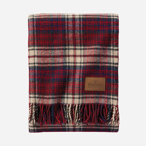 Pendleton woolen mills usa made wool blanket throw motor robe with leather carrier car travel picnic warm cozy pittock plaid red white blue vintage fringe folded