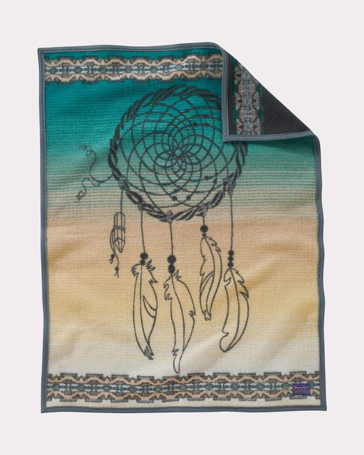 Pendleton woolen Mills crib blanket dream catcher baby gift turquoise beige soft warm