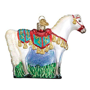 Arabian horse ornament christmas tree holiday glass glitter white gift decoration side view