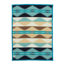 Load image into Gallery viewer, Pendleton Woolen Mills Saguaro crib blanket throw aqua cactus desert Southwest symbol recognize early design american made wool soft back reverse