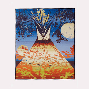 Starr Hardridge artist Pendleton Woolen Mills Full Moon Lodge robe blanket throw tepee wool front gift christmas Native American Muskogee Creek Nation