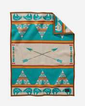 Load image into Gallery viewer, Pendleton Woolen mills star guardian crib blanket baby children tuck in peaceful bear arrows tepees night safe american made wool front