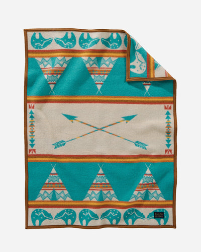 Pendleton Woolen mills star guardian crib blanket baby children tuck in peaceful bear arrows tepees night safe american made wool front