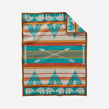 Load image into Gallery viewer, Pendleton Woolen mills star guardian crib blanket baby children tuck in peaceful bear arrows tepees night safe american made wool back