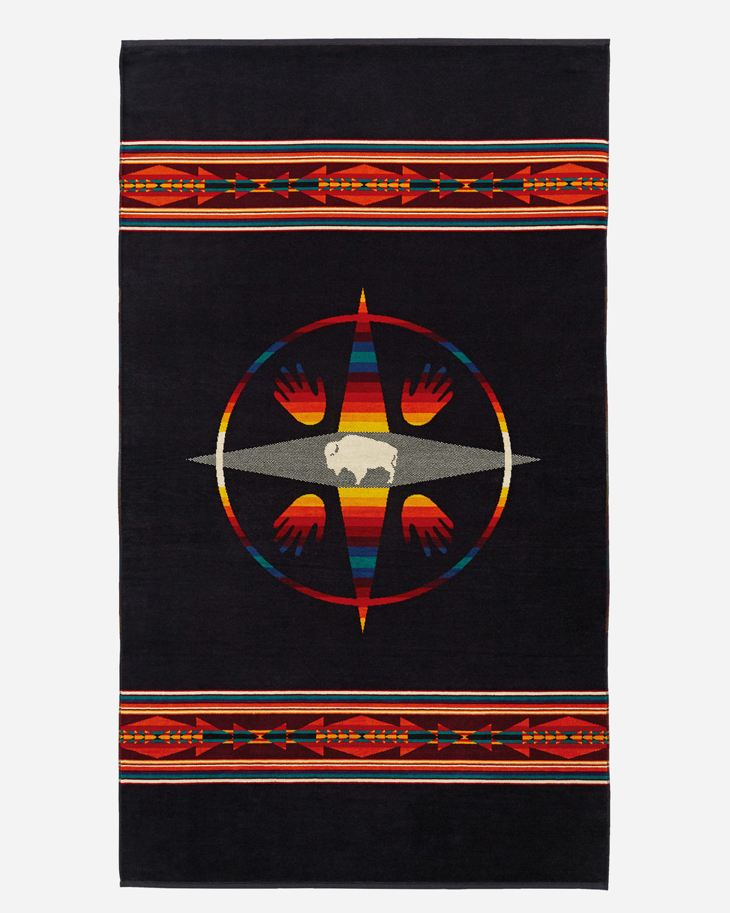 Pendleton towel big medicine white buffalo bison native american art beach cotton